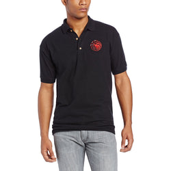 Model wearing black short-sleeve polo t-shirt with Targaryen three headed dragon sigil embroidered in red