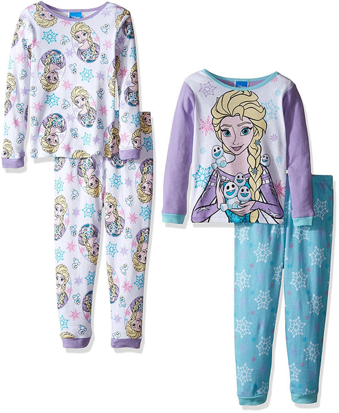 Disney Toddler Girls Frozen Fair Isle Sisters Four Piece Pajama Set