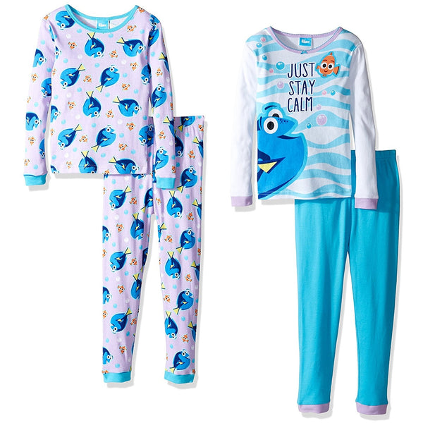 4 piece pajama set with long-sleeve allover Dory print and matching pants and blue and white Dory long-sleeve shirt with matching solid blue pants