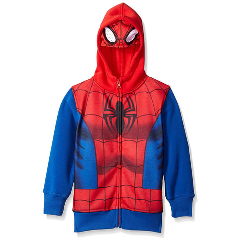Blue and red Spiderman costume hoodie with Spider logo on chest and attached face mask