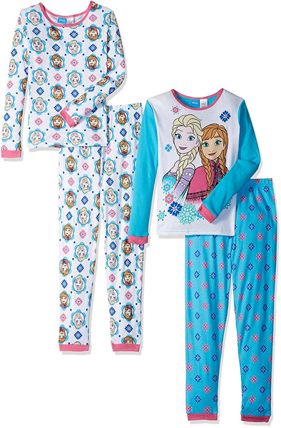Disney Girls' Frozen Fair Isle Sisters Four-Piece Pajama Set