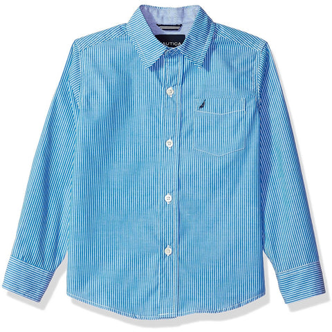 Boys button-up collared long-sleeve dress shirt in blue