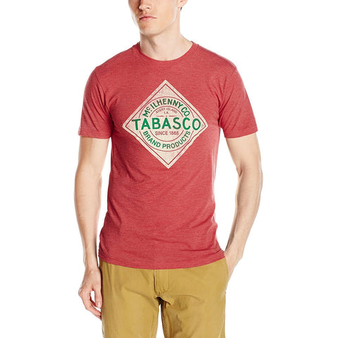 Red short-sleeve crew neck t-shirt with Tabasco hot sauce label in white and green