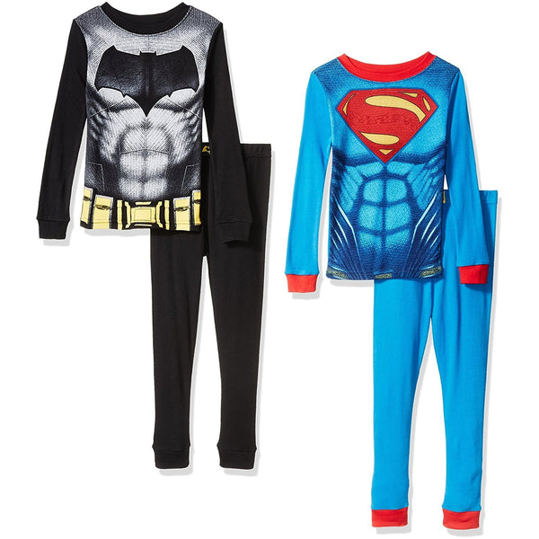 Pajama set featuring DC Comics Batman with long sleeve black cotton shirt, Batman logo and matching black pants. Second pajama set featuring Superman logo with blue and red cotton long sleeve shirt and matching red and blue pants.