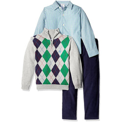 Boys three-piece sweater set with light blue long-sleeve button-up collared dress shirt, gray quarter-zip sweater with blue and green argyle design, and matching navy blue dress pants