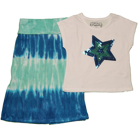 Flapdoodles Girl's Tie-Dye Skirt Set