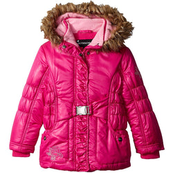 Rothschild Little Girls' Puffer Coat with Bow Belt Toddler