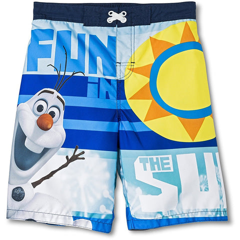 Blue and white boys swim trunks with Olaf character, sun design, and Fun in the Sun text