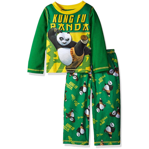 Boys two piece pajama set with long-sleeve Kung Fu Panda shirt and matching pants with allover Kung Fu Panda print