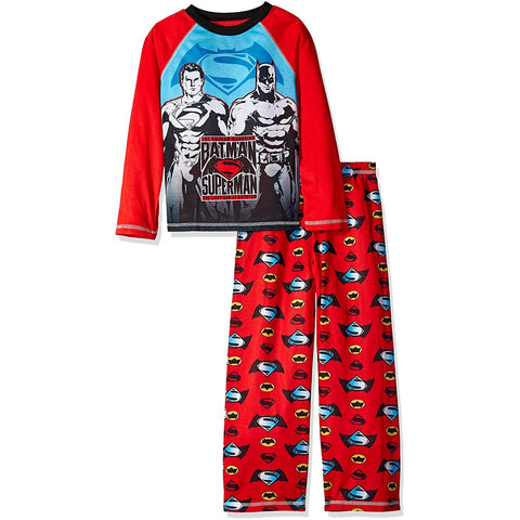 Matching boys pajama set featuring Batman vs Superman on red long-sleeve shirt and matching red PJ pants with allover logo print