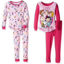 Girls four piece Peanuts pajamas with long-sleeve pink allover character print and matching pants with long-sleeve crew neck pink shirt with matching solid pink pants
