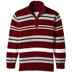 Red, gray, and white striped long-sleeve sweater with half zipper