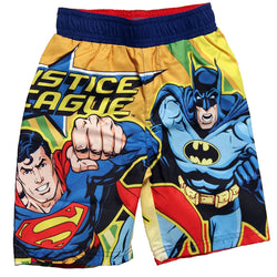 Front of boys Justice League swim trunks featuring Superman and Batman characters