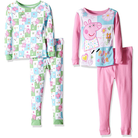 Girls four piece pajama set with white and blue checkered long-sleeve allover print shirt and pants and pink Peppa Pig design long-sleeve shirt and solid pink pants
