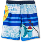 Back of Olaf boys swim trunks in blue and white with yellow sun design
