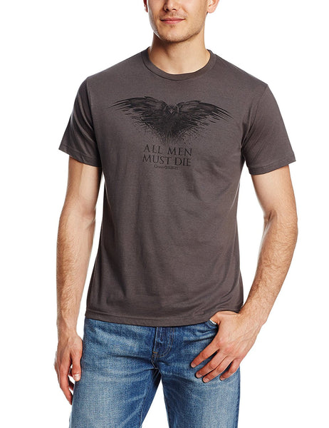 Model wearing brown short-sleeve crew neck t-shirt featuring the Black Raven and All Men Must Die text