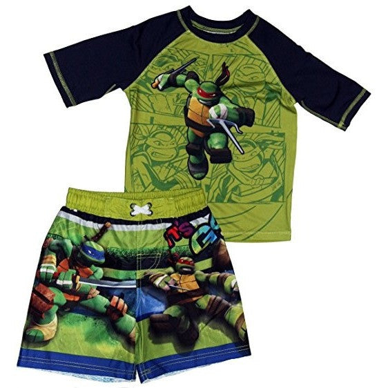 Swim set with green and blue Teenage Mutant Ninja Turtles swim trunks and matching green and black short-sleeve rash guard t-shirt.