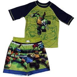Matching boys swim set featuring Teenage Mutant Ninja Turtles with half-sleeve black and green rash guard t-shirt and matching green and blue swim trunks