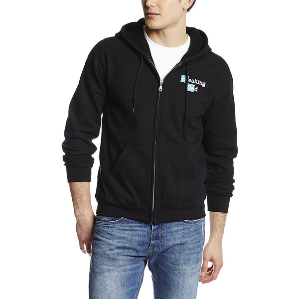 Black zippered hooded sweatshirt featuring Breaking Bad Heisenberg face