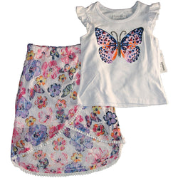 Flapdoodles Girl's Butterflies Skirt Set