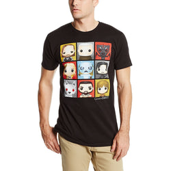 Model wearing short-sleeve black crew neck t-shirt featuring nine Game of Thrones character Funko heads in checkerboard pattern