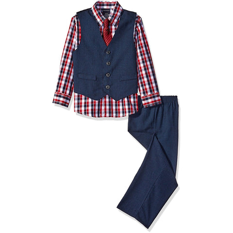 Boys three piece set with red plaid long-sleeve button-up collared dress shirt, front-button navy vest and matching pants with red clip-on tie