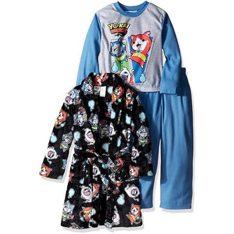 Boys three piece pajama set with black Yo-Kai robe with allover print, long-sleeve crew neck sleep shirt with graphic, and matching solid blue lounge pants