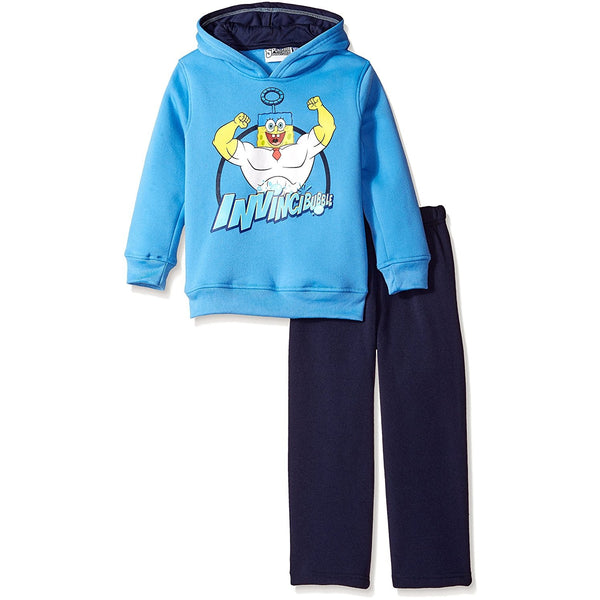 Blue Spongebob Squarepants long-sleeve hooded sweat shirt with Invincible text and graphic with matching black pants