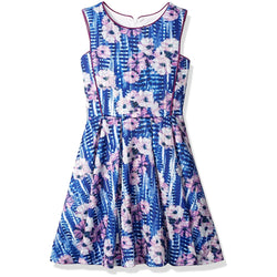 Dorissa Girl Big Girls' Chloe Scuba Floral Print Box Pleated Dress