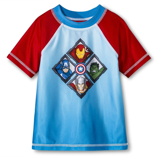 Boys short-sleeve rash guard swim shirt featuring Marvel Avengers characters Iron Man, Hulk, Captain America, and Thor