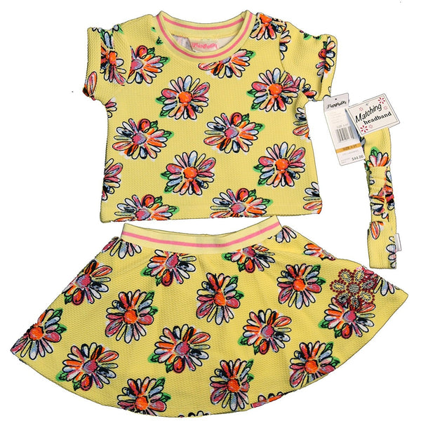 Girls yellow floral print matching skort set with short-sleeve crew neck t-shirt, short with skirt overlay, and headband in the same yellow with flower design