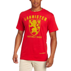 Model wearing short-sleeve red crew neck Lannister t-shirt with text and lion sigil in gold