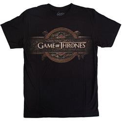 Men's black short-sleeve crew neck t-shirt with HBO's Game of Thrones logo