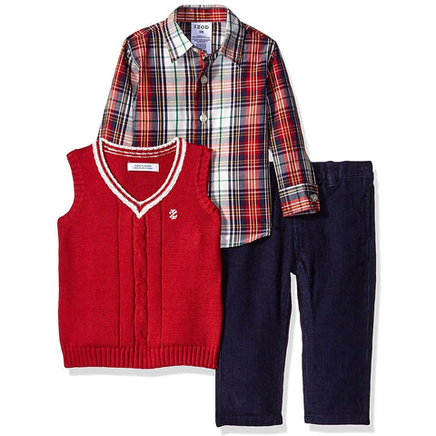 Three piece IZOD set with red and white knit vest, red and white plaid shirt, and navy blue pants.