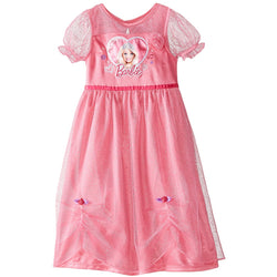 Pink girls Barbie gown with light pink sleeves and rosettes on the front.