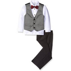 Boys three-piece vest set with white, collared, button-up long-sleeve dress shirt, gray vest, black pants, and matching red bow tie