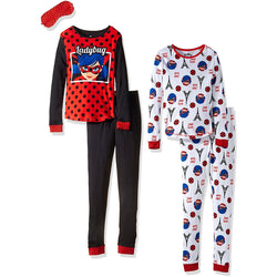 Four piece girls pajama set with black and red long-sleeve Miraculous Ladybug shirt, black PJ pants, and matching eye mask, second set is matching white with allover Ladybug print long-sleeve top and pant
