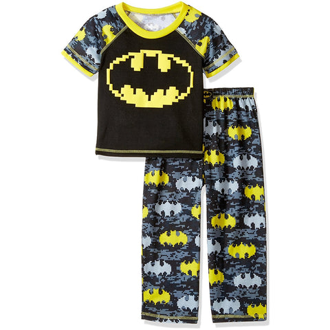 Toddler boys pajama set with short-sleeve black t-shirt with Batman logo and matching PJ pants with allover gray and yellow Batman logo print.