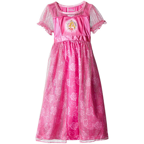 Pink short-sleeve girls nightgown dress featuring Disney princess Aurora