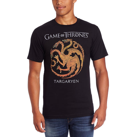 Model wearing black short-sleeve crew neck t-shirt with Game of Thrones Targaryen three-headed dragon sigil in red and gray