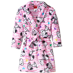 Girls plush robe with waist tie sash in pink featuring Peanuts character Snoopy in allover print