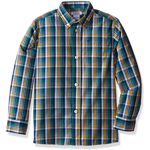 Boys long-sleeve, collared, button-up dress shirt in multicolored navy blue, green, and white
