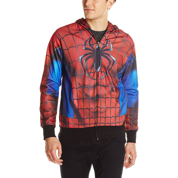 Model wearing red and black zip-up Spiderman hoodie with logo on chest