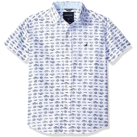 Boys white collared short-sleeve button-up t-shirt with blue fish print