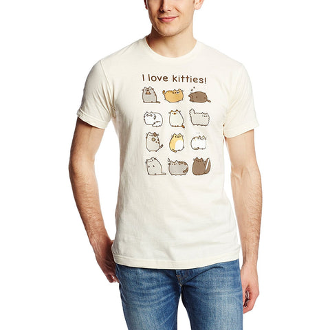 Model wearing cream Pusheen I love Kitties t-shirt