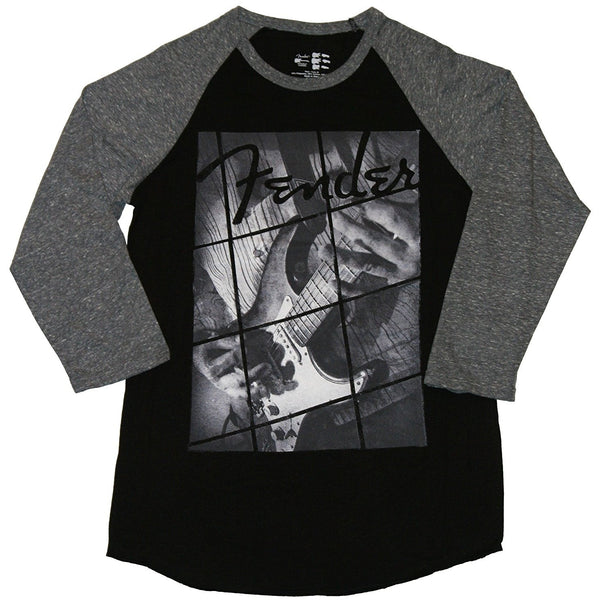 Black Fender shirt with gray three-quarter sleeves and geometric guitar design