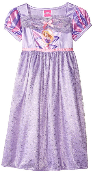 Purple short-sleeve nightgown pajama dress featuring Rapunzel