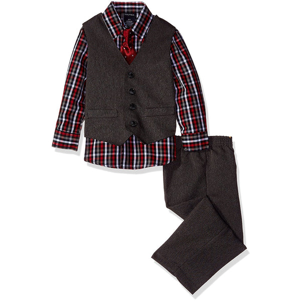Boys three piece set with red plaid patterned collared, button-up long-sleeve shirt, black vest, black dress pants, and matching clip-on tie