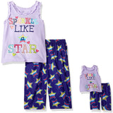 Girls two piece pajama set with purple sleeveless Sparkle Like A Star tank top and purple allover star print pants with matching tiny pajama set for doll