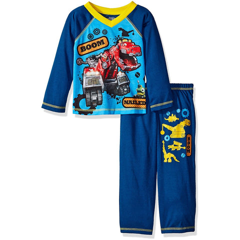 Boys 2 piece pajama set with blue long-sleeve DinoTrux shirt and matching solid blue pants with DinoTrux design